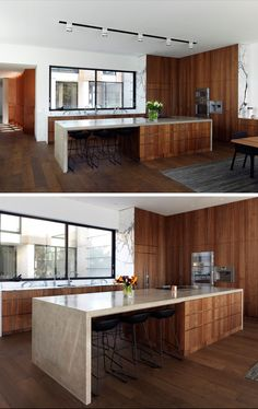 In this kitchen, dark wood cabinets have been combined with a light stone countertop to create a contemporary appearance. Large windows above the kitchen sink provide views of the courtyard. Modern House Design, Modern Kitchen Apartment, Contemporary Interior Design, Replacing Kitchen Countertops, Contemporary Kitchen Design, Contemporary Kitchen, Dark Wood Cabinets, Kitchen Interior, Modern Kitchen Design
