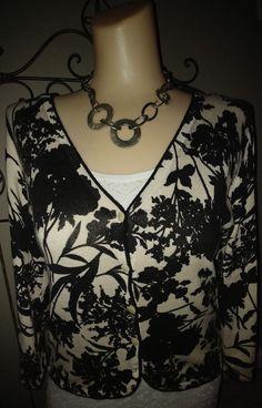 4514005977de61 ANN TAYLOR Cardigan Sweater Silk Cashmere Cotton Floral Black Beige Sz S   AnnTaylor  Cardigan  Work
