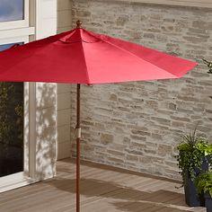 9' Round Sunbrella ® Ribbon Red Patio Umbrella with FSC Eucalyptus Frame