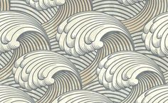 XOO Plate :: Vintage Art Nuveau Waves Pattern Background - Vintage style waves artwork seamless pattern background in EPS vector.