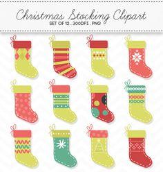 Digital Christmas Stocking Clipart Christmas Socks / INSTANT DOWNLOAD by AzmariDigitals
