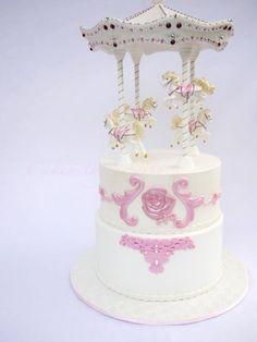 Pink Crystal Carousel Cake- 1st Birthday