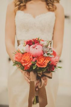 Beautiful Wedding Bouquet with pinks and oranges!