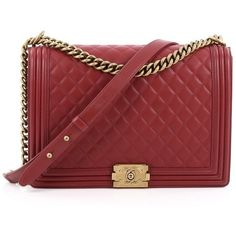 Pre-Owned Chanel Boy Flap Bag Quilted Lambskin Large ($3,780) ❤ liked on Polyvore featuring bags, handbags, red, chanel handbags, red purse, chain strap purse, burgundy handbags and red handbags