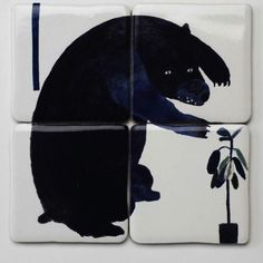 Bear This collection of 4 decorative tiles by Laura Carlin depicts a bear from Laura's larger animal mural, and would make for charming and original framed art piece, or as part of a larger tile installation. Illustrations, Illustration Art, Handmade Crafts, Street Art, Sculptures, Creatures, Pottery, Kawaii, Wall Art