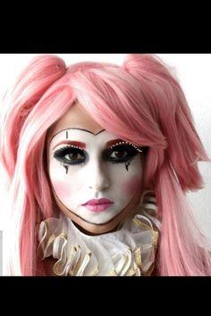 Clown, Joker, mask, doll Makeup for Halloween Halloween Makeup Clown, Clown Makeup, Maquillage Halloween, Costume Makeup, Halloween Make Up, Halloween Foto, Jester Makeup, Halloween 2015, Cosplay Makeup