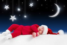 new year merry christmas funny sleeping baby kid children little santa claus clothes costume fairy-tale night moon stars new year merry christmas funny sleeping baby babe children small santa claus cl