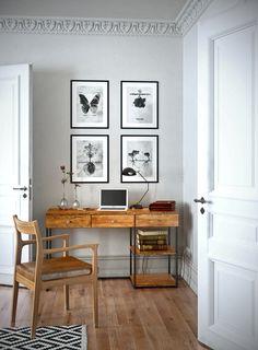 Biurko, krzesło wizualizacja w stylu loft.