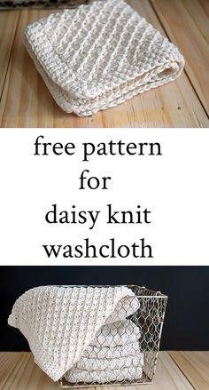 Daisy Stitch Knit washcloths are perfect for gifts or for your own use. This hand knit daisy stitch washcloth pattern, with a crocheted edged, knits up quickly. Directions on daisy stitch knitting plus, a link to additional washcloth knitting patterns