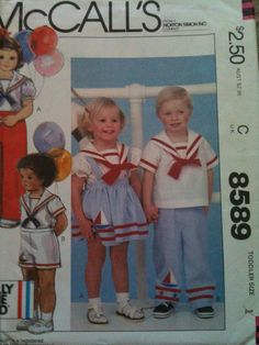 #McCalls8589. Toddlers' Shirt, Skirt, Pants or Shorts and Appliques, size 1. Copyright 1983.