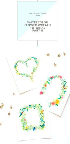 This watercolor flower wreath tutorial will show you how to paint wreaths in different shapes.Step by instructions with photos provided for easy learning. Watercolor Flower Wreath, Watercolor Flowers Tutorial, Easy Watercolor, Watercolour Tutorials, Watercolour Painting, Watercolors, Watercolor Border, Watercolor Images, Matte Painting