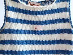 Camiseta bebé de rayas blancas y azules tejida a mano con algodón 60%, para primavera y verano, talla 6 meses. Se puede lavar en lavadora.