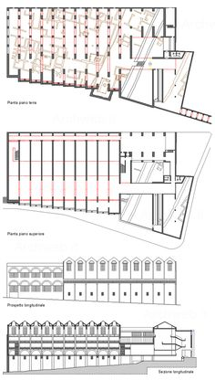 Plans and elevations of the National Museum of Roman Art, by Raphael Moneo.