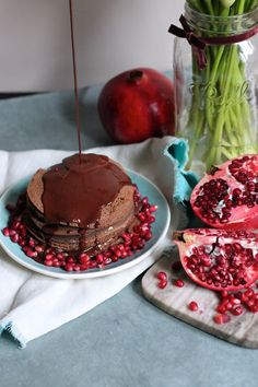 Chocolate Crepe Cake With Peanut Butter Creme and Pomegranates (gluten free, dairy free, refined sugar free)
