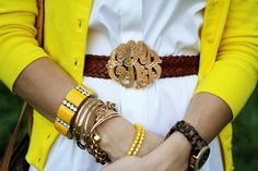 Sunny Southern Style - love the monogrammed belt buckle!