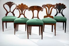 Biedermeier, Austrian Walnut Dining Chairs (set of seven, five shown) Would love to have these!