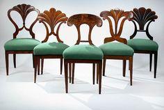 Assembled set of seven Austrian, Biedermeier, Walnut Dining Chairs (five shown)