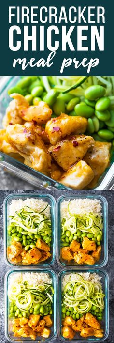 Healthier Firecracker Chicken Lunch Bowls Bring The Spice To Your Lunch Lightened Up, But Still Super Flavorful. Gluten-Free And Ready In 35 Minutes. Via Sweetpeasaffron Lunch Meal Prep, Meal Prep Bowls, Healthy Meal Prep, Healthy Eating, Lunch Recipes, Easy Dinner Recipes, Easy Meals, Cooking Recipes, Healthy Recipes