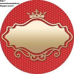 Montando minha festa: Mini kit - Coroa princess vermelho, dourado e bege Printable Labels, Party Printables, Diy And Crafts, Paper Crafts, Gold Wedding Theme, Wedding Themes, Cake Logo, Levi X Eren, Bottle Cap Images