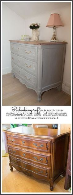 Refined makeover for a cherry wood dresser Relooking raffin pour une commode en merisier verni des ann es 1970 Refined makeover for a cherry wood chest Upcycled Home Decor, Upcycled Furniture, Vintage Home Decor, Paint Furniture, Furniture Makeover, Handmade Home, Cherry Wood Dresser, Wood Chest, Chest Drawers