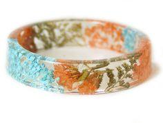 Coral Teal and Gold Flower Bracelet