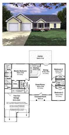 Ranch Style COOL House Plan ID: chp-17118 | Total Living Area: 1400 sq. ft., 3 bedrooms & 2 bathrooms. Split bedroom plan. Large master suite with a bath (jet tub for her), and a half (shower for him). Large master closet. Raised bar. A great value in use of space. #houseplan #ranchstyle
