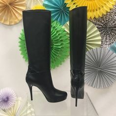 YSL Rive Gauche Black Boots Brand new, in the box. Comes with box, heel tip replacements and silk dust bag. No trades, no PP. Euro size 38.5 Yves Saint Laurent Shoes Heeled Boots