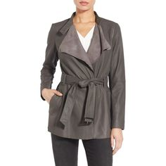 Women's Bernardo Colorblock Woven Back Belted Leather Jacket ($298) ❤ liked on Polyvore featuring outerwear, jackets, raven, belted trench coat, belted leather jacket, draped leather jacket, color block trench coat and genuine leather jackets