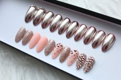Rose Gold Chrome Press on Nails | Swarovsi Crystals | Glitter | Studded | Mirror Powder | Handpainted Nail Art | Any Shape and Size by DippyCowNails on Etsy