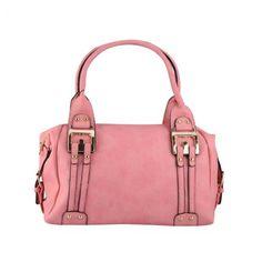 Handtasche in Rosa. Mit Seitenschnallen, eine schicke Metall-Applikation ziert die Frontseite, Lederoptik genarbt, schwarze Außenränder