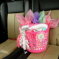Baby girl gift..basket and ribbons from dollar store