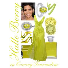 Halle Berry in Canary Tourmaline by itscindylou on Polyvore featuring Ivanka Trump, Urban Decay, Aromatherapy Associates, Oscar de la Renta, Manolo Blahnik, green nail polish, green shoes, green eye shadow, gold eye shadow and canary tourmaline ring
