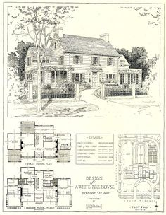 Architectural Plans for Mr. Blandings' Type Dream House costing $12,500 . . .   Content in a Cottage