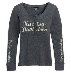 Harley-Davidson® Womens Henley Style B Wings Long Sleeve Grey Shirt Sz LARGE