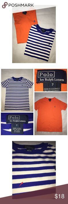 Ralph Lauren 2PC Bundle Pre•loved Ralph Lauren 2PC Bundle • Size 7 • Made of 100% Cotton • Striped shirt has a small stain, please see picture • Not too noticeable • Orange shirt is in excellent condition Ralph Lauren Shirts & Tops Tees - Short Sleeve