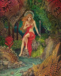 Empress Tarot Goddess Miniature Altar Art Nouveau ACEO Pagan Mythology Psychedelic Bohemian Gypsy Go Art Nouveau, Goddess Art, Goddess Of Nature, Goddess Movie, Divine Goddess, Mother Goddess, The Empress, Major Arcana, Psychedelic Art