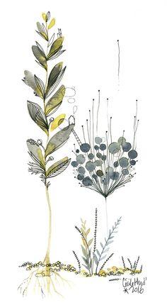 """Végétale """"entre racines bien ancrées et pollen volatile, j'essayais de trouver ma place"""". Aquarelle de Cécile Hudrisier (Toulouse)"""