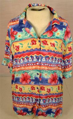 Ladies Size 20 Short Sleeve Alfred Dunner Multicolor Casual Shirt Blouse