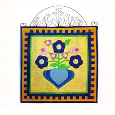 Quilted Folk Art Appliquéd Hearts and Flowers Wall by autumnelan, $85.00