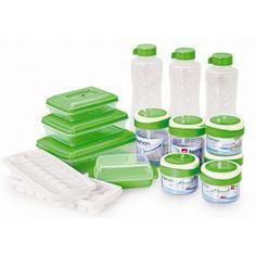 Round Storage Container 250 ml Set of 4 Pcs, Round Storage Container 500 ml Set of 2 Pcs, Water Bottle 1000 ml Set of 3 Pcs, Delite Set of 3 Pcs, Butter Box Set of 1 Pc and Ice Tray Set of 2 Pcs.