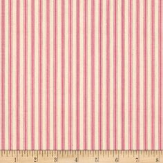 "44"" Ticking Stripe Pink from @fabricdotcom  This medium weight woven canvas twill ticking fabric is perfect for window treatments (draperies, curtains, valances, swags), bed skirts, duvet covers and accent pillows. Please allow for shrinkage. Colors include natural and pink."