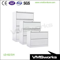 China Integrated Full Width Flush Handle Lateral Filing Cabinets 2/3/4  Drawer