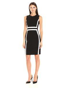 Calvin Klein Women's Sleeveless Colorblock Sheath Dress at Amazon Women's Clothing store:
