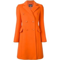 Boutique Moschino long double-breasted coat (4.830 RON) ❤ liked on Polyvore featuring outerwear, coats, double breasted long coat, orange coat, double breasted coat and long coat