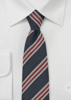 b2753d9d3fa4 chevron bowtie. See more. Modern wool tie | Versatile striped tie in navy  blues and reds Grey Suit Men,
