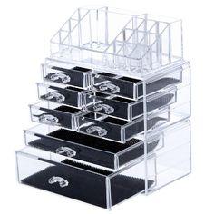 Acrylic Makeup Cosmetics Jewelry Organizer 4 Drawers Display Box
