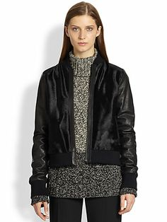 vince leather-sleeved calf hair bomber jacket, from $1250 to $562.50. #sale #womenswear