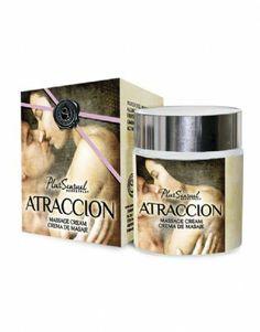 Crema de masaje 'Atracción'  La crema de masaje 'Atraccion' tiene un estado sólido que se transformará lentamente en un agradable y sedoso aceite de masaje. Su efecto de calor y su sensual aroma produce una dilatación de los vasos sanguíneos despertando sentimientos de pasión, atracción, y deseo.
