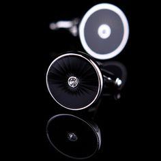 Black Enamel Circle Cufflinks ✿