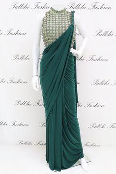 Palkhi Fashion Exclusive Dark Green Ready made Saree - Saree Styles Fancy Sarees Party Wear, Saree Designs Party Wear, Saree Blouse Designs, Sari Design, Diy Design, Trendy Sarees, Stylish Sarees, Beau Sari, Style Indien